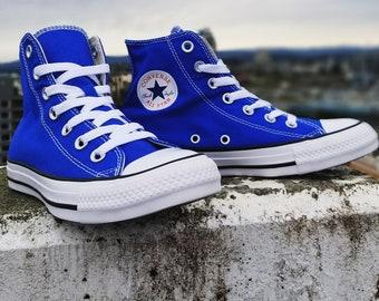 8b3f7740c2a0fc Royal Blue Wedding Converse High Tops Custom Crystal Bling Chuck Taylor w   Swarovski Rhinestones All Star Jewels Bride Sneakers Bridal Shoes
