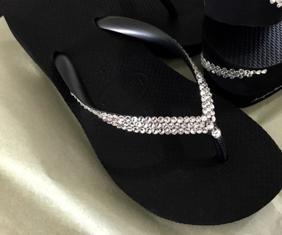 White Wedding High Heel Havaianas Flip Flops Wedge w/ Swarovski Crystal Rhinestone Jewels Shoe Bling Wedge Bridal Shoes Reception Bridesmaid