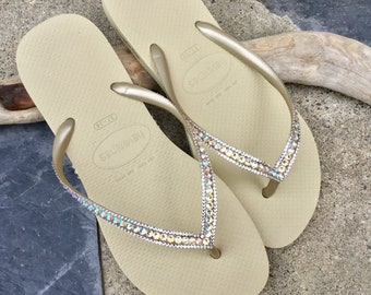 6ec36e9c4261 Gold Havaianas Slim Flip Flops Sand Gray Golden Beige Tan Silk Shimmer Custom  w  Swarovski Rhinestones Iridescent Beach Wedding Bridal Shoes