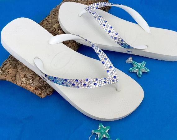 Beach Wedding Confetti Crystal Flip Flops Custom w/ Swarovski Rhinestones Bridal Havaianas flat or Cariris Wedge Heels Bling Reception Shoes
