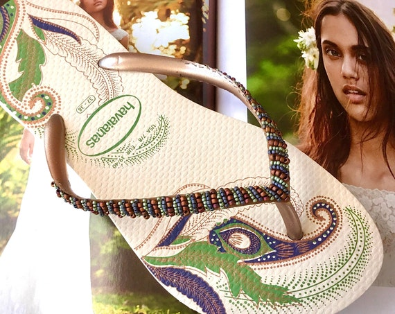 Organic Havaianas Slim Flip Flops Beyond Seed Beads Green Ivory Custom Hand sew Glass Slippers Boho Bride Wedding Vacation Honeymoon Shoes
