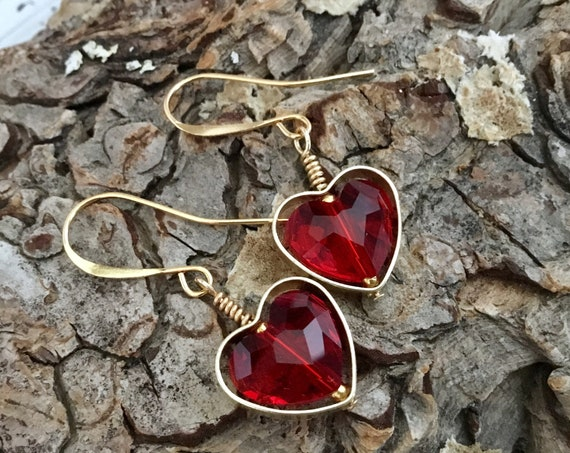 Heart Earrings Swarovski Red Crystal AB Pink Dangle Drop Earwire Brass Picture Frame Gold Black Rainbow Ladies Sweetheart Girlfriend Gifts