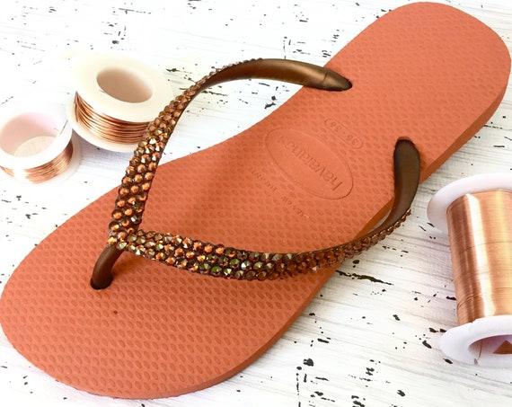 Burnt Orange Flip Flops Havaianas Slim Coral Copper w/ Swarovski Crystal Metallic Wedding Bling Rhinestone Red Custom Beach Sandal Shoe