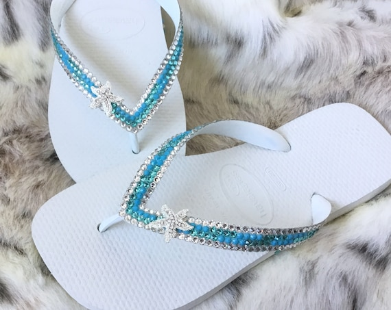 Silver Starfish Crystal Flip Flops Mint Green Sea Foam Turquoise Blue Aqua Havaianas flat or Wedge Heel w/ Swarovski Wedding Slip on Shoes