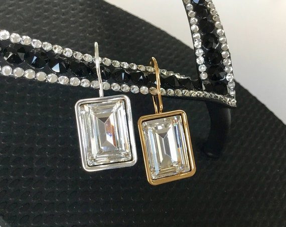 Rectangle Crystal Earrings Princess Baguette 14x10 Swarovski Fancy Jewel Gold Silver Frame hook Minimalist Jewelry gift Ladies Mother's Day