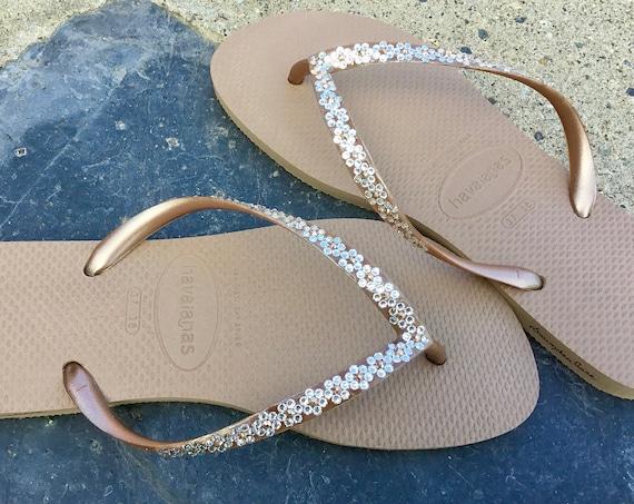 Havaianas Slim Garden Flower Flip Flops Floral Daisy Custom w/ Swarovski Crystal Bride Slip on Beach Wedding Bridesmaid Bridal sandals Shoes
