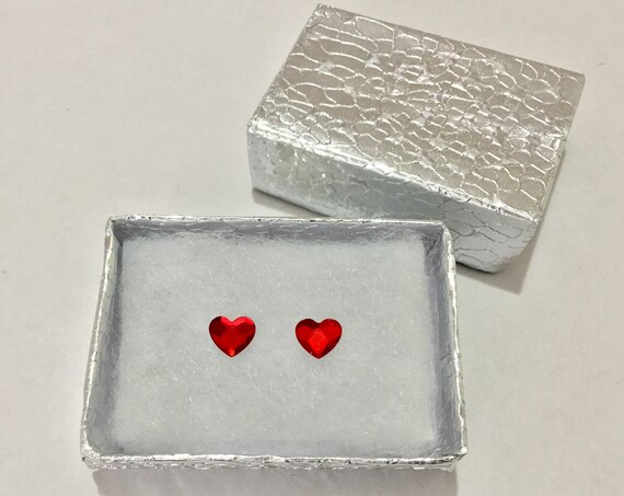 6mm Custom Swarovski Crystal Red Heart Valentines Earring set Wedding Gem Rhinestone w/ Silver Titanium Post Hypoallergenic Minimalist Studs