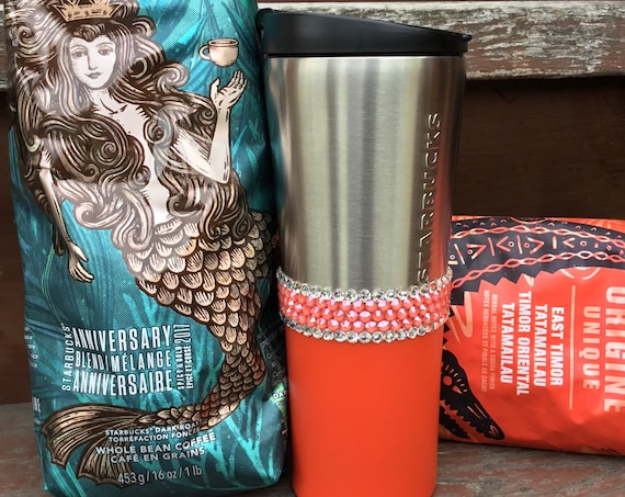 Coral Starbucks Cup Tumbler Stainless Custom w/ Swarovski Crystal 12 oz Tall Salmon Pink Orange Peach Travel Coffee Tea Mug Rhinestone Jewel