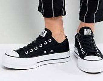 fe54cd3cb383 Black Platform Converse Lift heel wedge Canvas Low Club w  Swarovski  Crystal Rhinestone Chuck Taylor All Star Wedding Bridal Sneakers Shoes