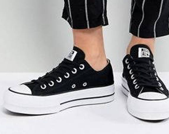 Platform Converse heel wedge Black Canvas Low Top Club w/ Swarovski Crystal Rhinestone Chuck Taylor All Star Wedding Bridal Sneakers Shoes