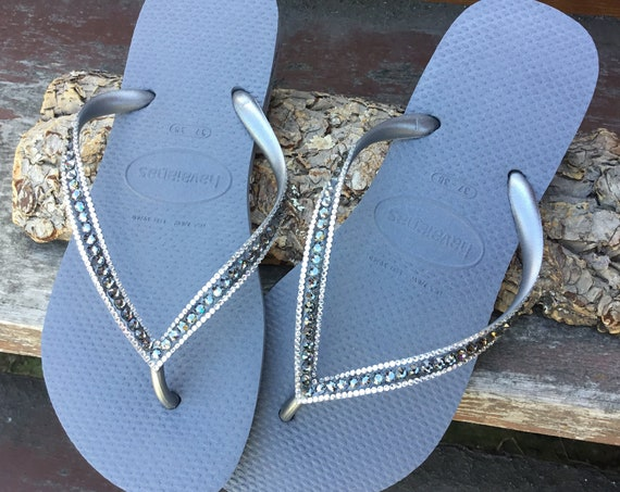 Gray Flip Flops Havaianas Slim Silver Seal Steel Grey Charcoal w/ Swarovski Crystal Sophisticate Sandals Jewels Rhinestone Bling Beach Shoes