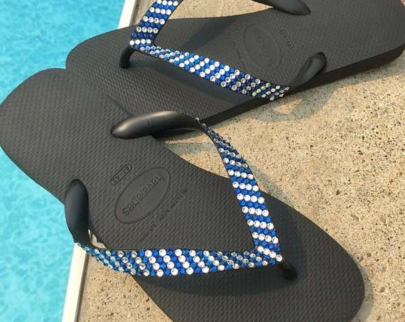 Pin Stripe Crystal Flip Flops Havaianas flat Cariris 1.5 Wedge heel w/ Swarovski Rhinestone Jewels Wedding Beach Bridal Sandals Thongs Shoes