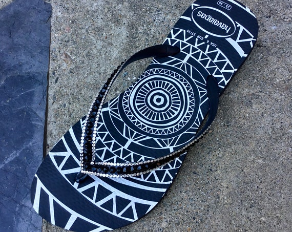 Jet Black Flip Flops Custom Tribal Medallion Havaianas Slim w/ Swarovski Bling Crystal Glass Slippers Rhinestone Sandals Beach Wedding Shoes
