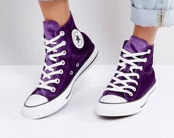 Purple Converse High Top Kicks Eggplant Wedding Velvet W US 8 w/ Swarovski Crystal Bling Rhinestone Jewel Chuck Taylor All Star Sneaker Shoe