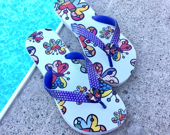 Blue Butterfly Flip Flops Custom Crystal Collector Romero Britto Rainbow White Sandal Dupè w/ Swarovski Crystal GlassSlippers Thongs Shoes