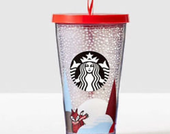 Grande Starbucks Cold Drink Cup Smoothie Red Fox Snow Collector mug Custom w/ Swarovski Crystal 16 Acrylic Travel Tumbler Snowflake Gift