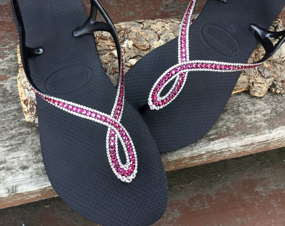 Black Havaianas LUNA Slim Crystal flip flops Infinity w/ Fuchsia Pink Custom Swarovski Rhinestone Bling Jewels Beach Wedding Sandal Shoes