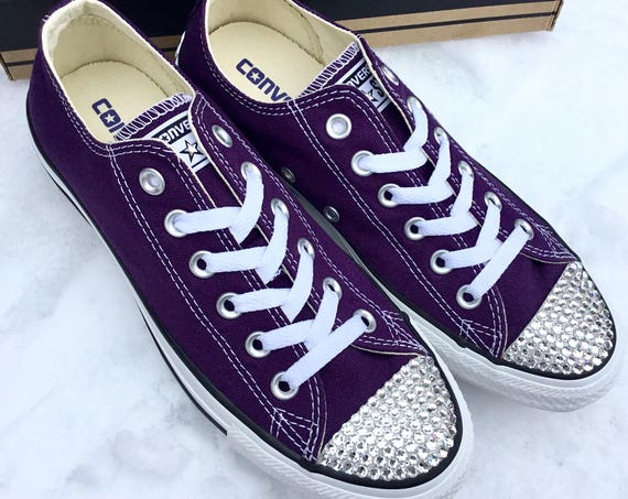 4cecf959244 ... All Star Trainer Sneaker Shoe  99.99 Purple Converse Low Top Eggplant  Peel Custom Bling Bridal Wedding Kicks w  Swarovski Crystal Rhinestone