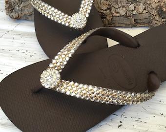 73fe5bdcba84 Gold Crystal flip flops Super Bling wedding Jewel Havaianas Flat or Wedge  1.5 Heel w  Swarovski Crystal 3D Ice Cap Beach Bride Bridal Shoes