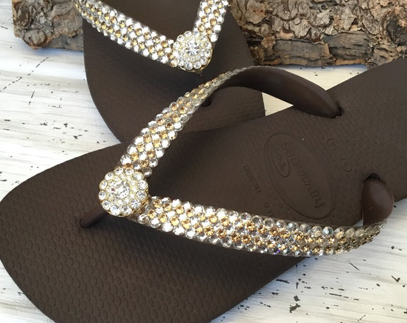 Gold Crystal flip flops Super Bling wedding Jewel Havaianas Flat or Wedge 1.5 Heel w/ Swarovski Crystal 3D Ice Cap Beach Bride Bridal Shoes