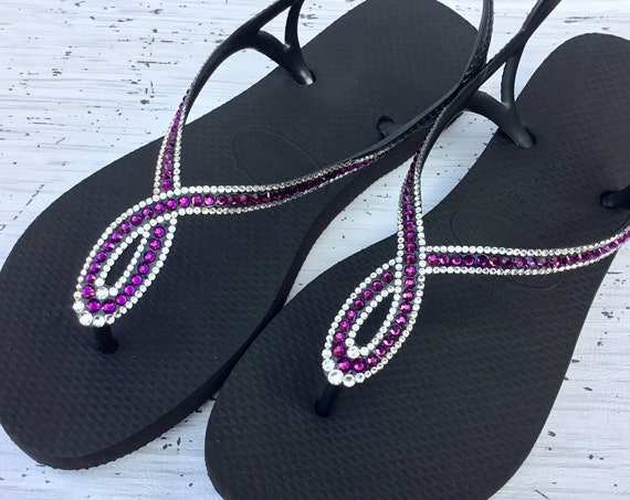 Black Purple Amethyst Flip Flops Havaianas Slim Crystal LUNA Infinity Custom w/ Swarovski Rhinestone Bling Jewel Ladies Wedding Sandal Shoes