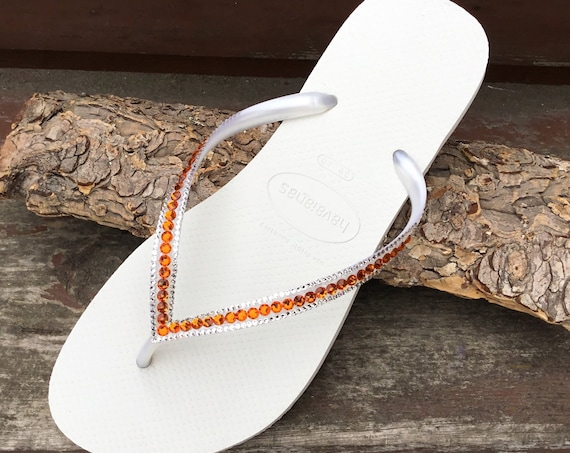 Custom Havaianas Slim Flip flops flat Orange Tangerine Peach Mango Coral w/ Swarovski Jewels Beach Bridal Bridesmaid Bling Wedding Shoes