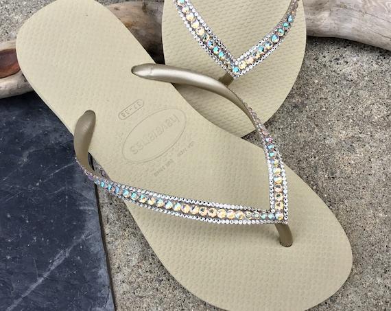 Gold Havaianas Slim Flip Flops Sand Gray Golden Beige Tan Silk Shimmer Custom w/ Swarovski Rhinestones Iridescent Beach Wedding Bridal Shoes