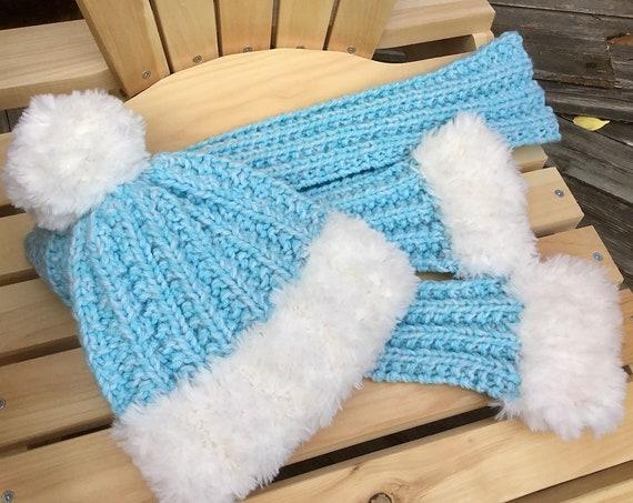 Knit Hat Scarf set Wool Lux Fur Beanie Winter Snow Toque Giant Pom Pom Fibre Art Costume Cap Christmas Holiday Ladies Women Kids Mens Gift