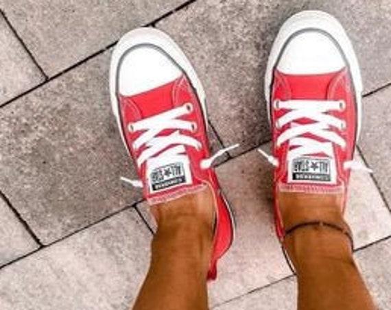 Red Converse Shoreline Slip on Boat Summer Custom Kicks w/ Swarovski Crystal Rhinestones Bling Chuck Taylor All Star Wedding Sneakers Shoes
