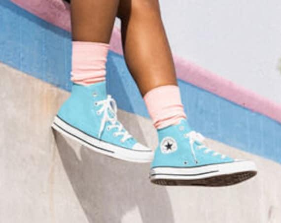 Baby Blue Sky Converse High Top Gaze Wedding Beach Ocean Bride Powder w/ Swarovski Crystal Kicks Bling Chucks Taylor All Star Sneakers Shoes