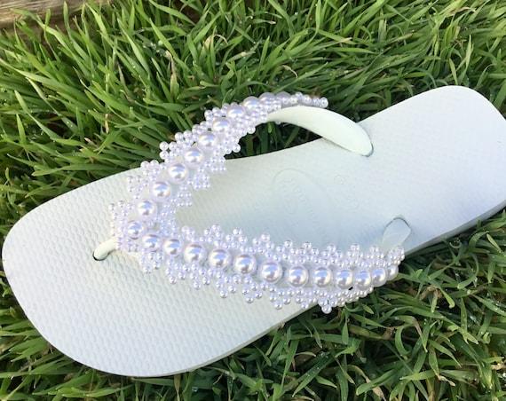 "Pure White Pearl Wedding Flip Flops Crochet Lace Ivory Blue Pink Havaianas Flat Cariris 1.5  Platform 3"" Heel Bridal Wedding Bridesmaid Shoe"