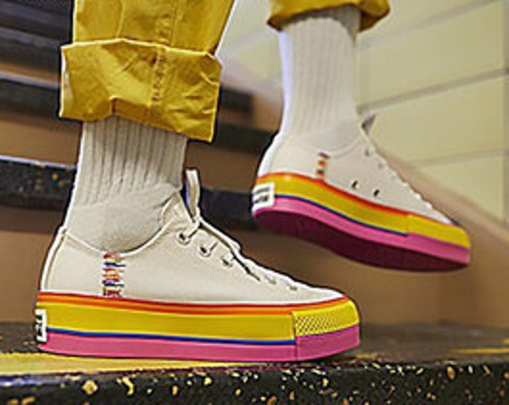 Rainbow Converse Super Lift Platform Putty White wedge Canvas Low Club w/ Swarovski Crystal Rhinestone Chuck Taylor All Star Sneakers Shoes