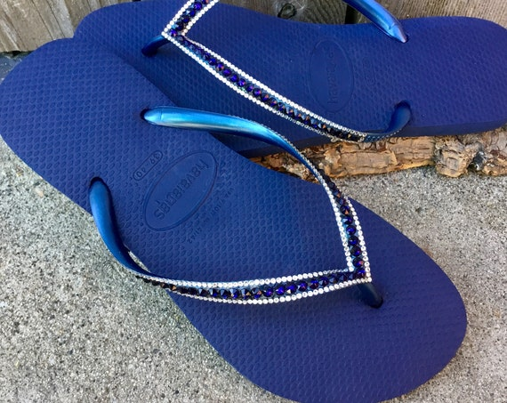 Navy Blue Flip Flops Havaianas Slim Flats Indigo Ocean Sea w/ Swarovski Crystal Sophisticate Wedding Sandals Jewels Bling Beach Bridal Shoes