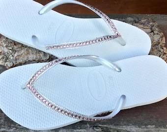8444ebaaa7fc79 White Wedding Flip Flop Havaianas Slim Custom Blush Pink Vintage Rose  Crystal Custom Slipper w  Swarovski Jewel Rhinestone Beach Bridal Shoe