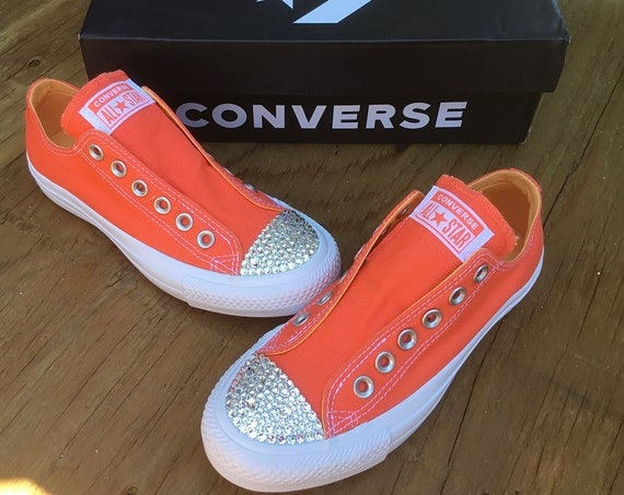 Melon Red Slip on Converse Coral Orange Laceless Kicks w/ Swarovski Crystal Rhinestone Wedding Reception Chuck Taylor Bride Sneakers Shoes