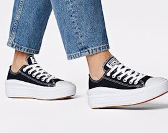 Black Converse Move White Low Top Boot Platform Lift Club Kicks w/ Swarovski Crystal Rhinestone Jewel Chucks Taylor All Star Sneakers Shoes