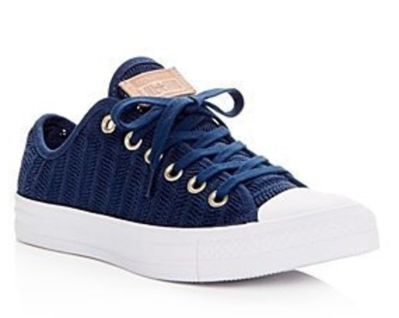 Navy Blue Converse W US 8 Low Top Gold Crochet Lace Knit Herringbone Chuck Taylor Bride w/ Swarovski Crystal All Star Wedding Sneakers Shoes