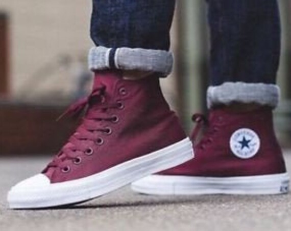 Burgundy Maroon Converse Chuck Taylor II High Top Mens Ladies Mono Red Wine Purple w/Swarovski Crystal Rhinestone All Star Sneakers Shoe