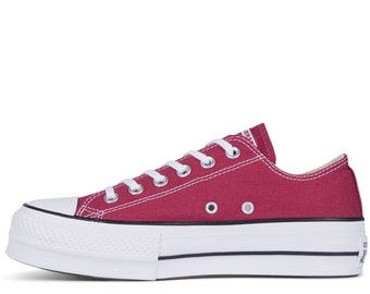 bd54054d7765 Burgundy Converse Platform heel wedge Raspberry Red Lift Canvas Low Top  Club w  Swarovski Crystal Chuck Taylor All Star Wedding Sneaker Shoe