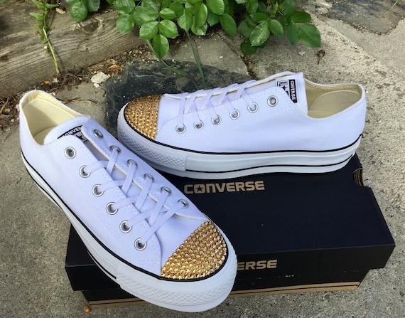 Platform Converse White heel Lift Canvas Low Top Club Custom Bling w/ Swarovski Crystal Chuck Taylor All Star Wedding Bride Sneakers Shoes