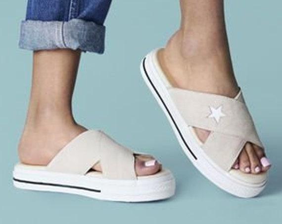 Cream Ivory Converse Off White One Star Slide slip on Beach Flip Flops Slippers Custom Crystal w/ Swarovski Wedding Vacation Reception Shoes