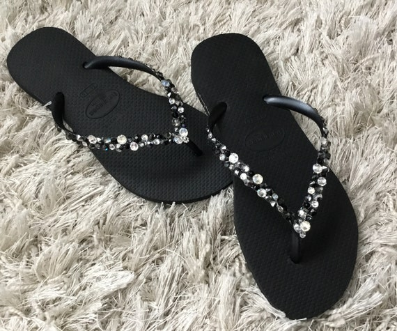 Black Flip Flops Silver Blue Crystal Havaianas Slim Beach Glass w/ Swarovski Rhinestone Ocean  Sea Wedding Shoes Bling Jewels Bridal Slip on