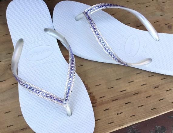 White Wedding Flip Flop Havaianas Slim Custom Lilac Lavender Bling Crystal Glass Slippers w/ Swarovski Jewel Rhinestone Beach Bridal Shoes