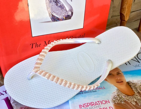 White Havaianas Slim Flip Flops Rose Gold Blush Pink Beyond Seed Beads Custom Hand sewn GlassSlippers Boho Wedding Vacation Honeymoon Shoes