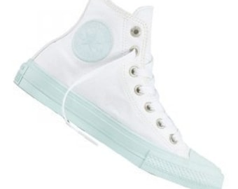 74f4c2a0dfc5 White Mint Converse High Top Fiberglass Aqua Custom Bling w  Swarovski  Crystal Rhinestone Kicks Chuck Taylor II All Star Bride Sneakers Shoe