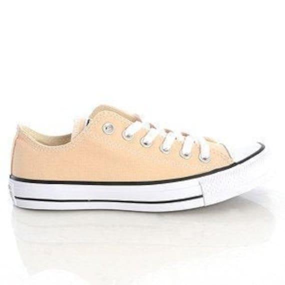 Peach Converse Apricot Raw Ginger Low Top Custom Bride Sneakers Wedding Mens Ladies w/ Swarovski Crystal Rhinestone Jewel Bridal Kicks Shoes