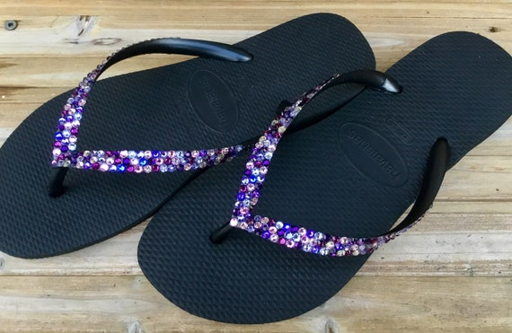 Purple Rainbow Crystal Flip Flops Custom w/ Swarovski Jewel Havaianas flats Cariris Wedge Shoe Multi Color Wedding Confetti Rhinestone shoes