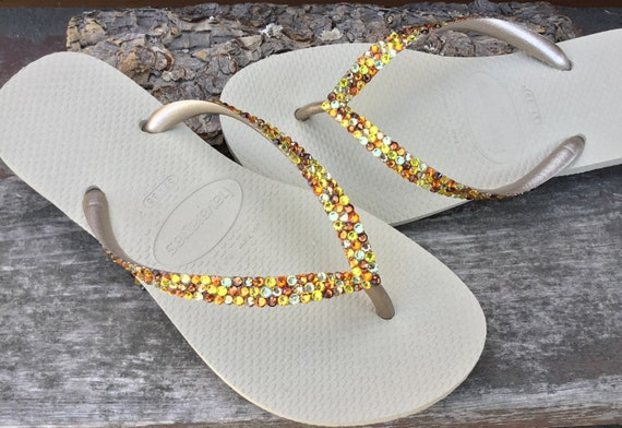 Gold Havaianas Slim Autumn Fall mix Rainbow Crystal Flip Flops w/ Swarovski Jewels Confetti Rhinestones Bridal shoes Wedding Slip on Flats