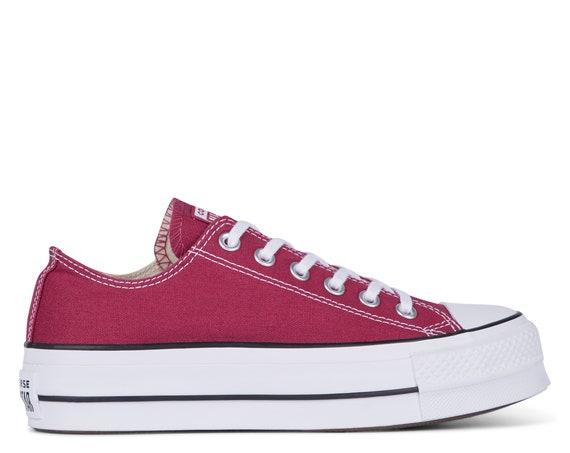 Burgundy Converse Platform heel wedge Raspberry Red Lift Canvas Low Top Club w/ Swarovski Crystal Chuck Taylor All Star Wedding Sneaker Shoe