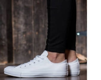 6b871fc58690 White Converse Canvas Low Top Mono Chuck Taylor Custom Bling Bride Groom w   Swarovski Crystal Rhinestones All Star Wedding Sneakers Shoes
